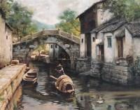 水乡 布面  油画 - 潘鸿海 - 华人西画 - 2006年度大型经典艺术品拍卖会 -收藏网