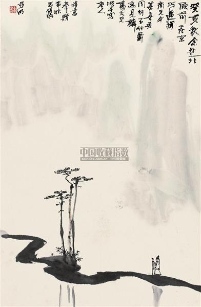唐人诗意图 立轴 设色纸本 - 2538 - 中国近现代书画(二) - 2010秋季艺术品拍卖会 -收藏网