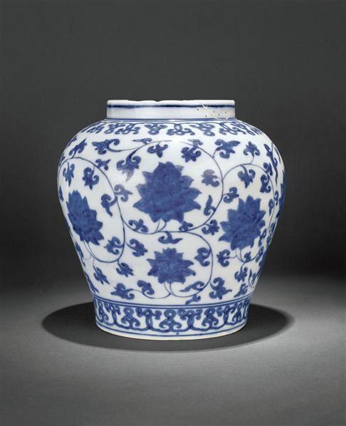 青花缠枝莲纹罐 -  - 瓷器 - 2010年秋季拍卖会 -收藏网