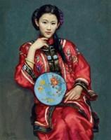 执扇少女 布面油画 - 张建岗 - 中国油画  - 2010年秋季艺术品拍卖会 -收藏网