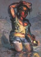 罗中立 过河 布面油画 - 罗中立 - (西画)当代艺术专题 - 2006年秋季精品拍卖会 -收藏网