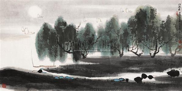 江漫月 镜心 设色纸本 - 6147 - 中国书画(一) - 2010年秋季艺术品拍卖会 -收藏网