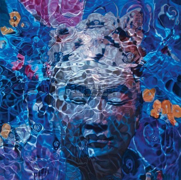 蓝色-佛 布面油画 -  - 中国油画  - 2010年秋季艺术品拍卖会 -收藏网