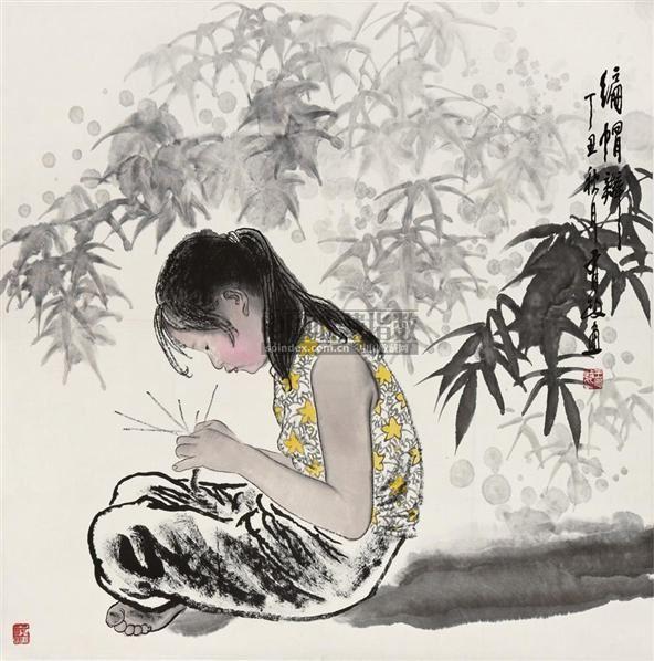 编帽辫 镜片 设色纸本 - 5448 - 中国书画(二) - 2010年秋季艺术品拍卖会 -收藏网