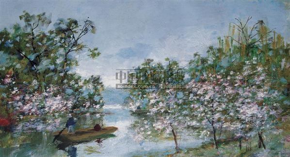 春花烂漫的湖畔 布面  油画 - 7371 - 华人西画 - 2006年度大型经典艺术品拍卖会 -收藏网