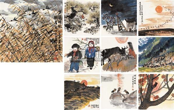 花鸟人物 册页 (十开) 设色纸本 - 4879 - 中国书画 - 2010秋季艺术品拍卖会 -收藏网