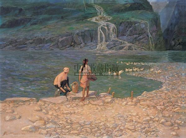 流泉 布面  油画 - 140046 - 华人西画 - 2006年度大型经典艺术品拍卖会 -收藏网
