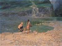 流泉 布面  油画 - 鲍加 - 华人西画 - 2006年度大型经典艺术品拍卖会 -收藏网