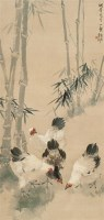 张书岩(1900~1957)  秋园双鸡图 -  - 中国书画海上画派作品 - 2005年首届大型拍卖会 -中国收藏网