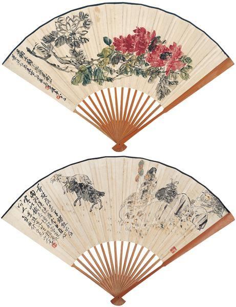 花卉 人物 成扇 设色纸本 -  - 扇画·古代书画专场 - 2006夏季书画艺术品拍卖会 -中国收藏网