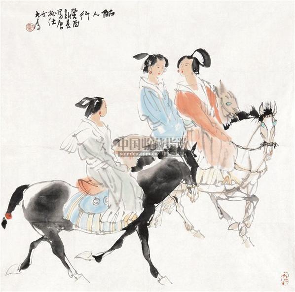 丽人行 镜心 纸本设色 - 114744 - 中国当代书画 - 2010秋季艺术品拍卖会 -收藏网