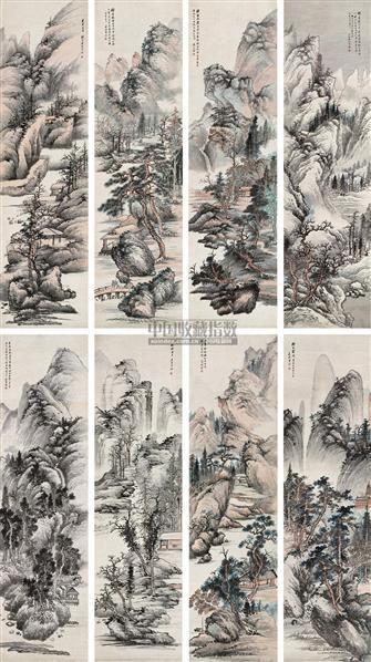 仿宋元家山水 八屏 设色纸本 -  - 中国书画三 - 2010秋季艺术品拍卖会 -收藏网