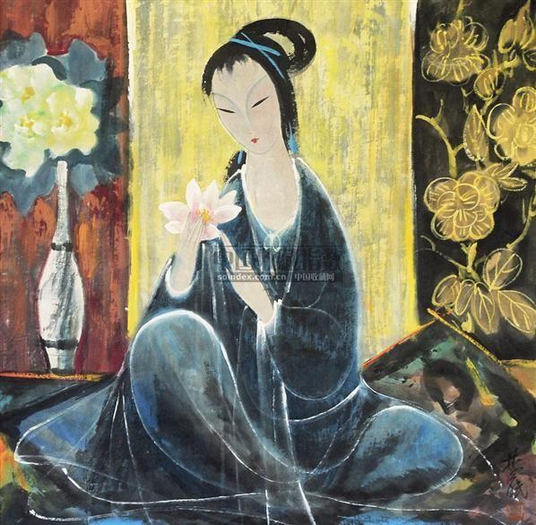 仕女 镜心 纸本 - 116036 - 中国书画 - 2010年秋季书画专场拍卖会 -收藏网