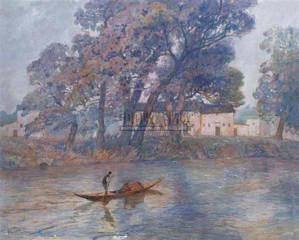 水乡的早晨 布面  油画 - 140046 - 华人西画 - 2006年度大型经典艺术品拍卖会 -收藏网