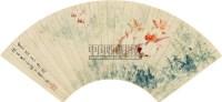 春波鱼乐图 立轴 设色纸本 - 江寒汀 - 中国扇画专场 - 2010秋季艺术品拍卖会 -中国收藏网