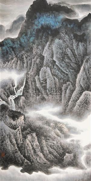 山水 立轴 纸本 - 6313 - 中国书画 - 2010年秋季书画专场拍卖会 -收藏网