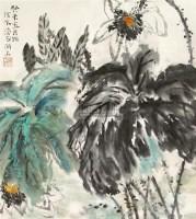 """白莲 立轴 设色纸本 - 何水法 - 中国书画 - 2010""""清花岁月""""冬季大型艺术品拍卖会 -收藏网"""