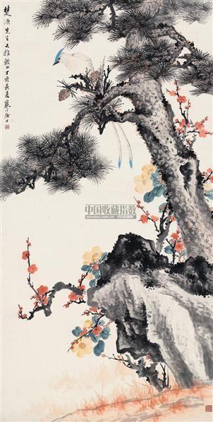 松寿长年 镜片 设色纸本 - 13356 - 中国近现代书画(一) - 2010秋季艺术品拍卖会 -收藏网