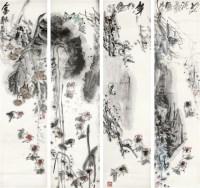 金鱼 纸本 单片四屏 - 潘鸿海 - 中国书画(一)精品专场 - 天目迎春 -收藏网