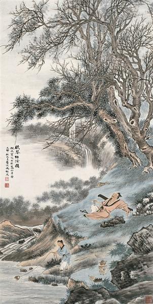 冯超然(1882~1954)  眠琴绿阴图 -  - 中国书画海上画派作品 - 2005年首届大型拍卖会 -收藏网