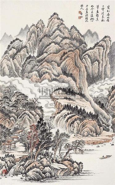 山水 立轴 设色纸本 - 127886 - 中国书画 - 2006秋季书画艺术品拍卖会 -中国收藏网