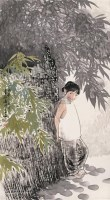 王有政 1989年作 少女图 片 设色纸本 - 王有政 - 中国油画·当代名家书画 - 2006艺术品拍卖会 -中国收藏网