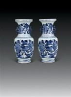 清乾隆 青花山水双耳瓶 (一对) -  - 瓷器杂项 - 2006年夏季拍卖会 -收藏网