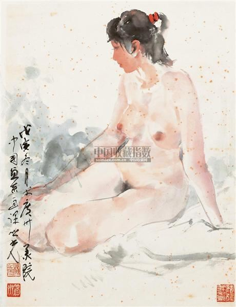 女人体写生 镜框 设色纸本 - 1356 - 国画 陶瓷 玉器 - 2010秋季艺术品拍卖会 -收藏网