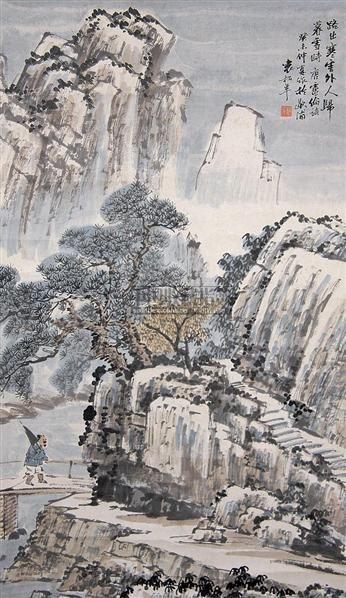 山水 立轴 纸本 - 134104 - 中国书画(上) - 2010瑞秋艺术品拍卖会 -收藏网