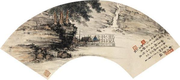 山水人物 扇面 纸本 - 134104 - 扇面小品 - 2010秋季艺术品拍卖会 -收藏网
