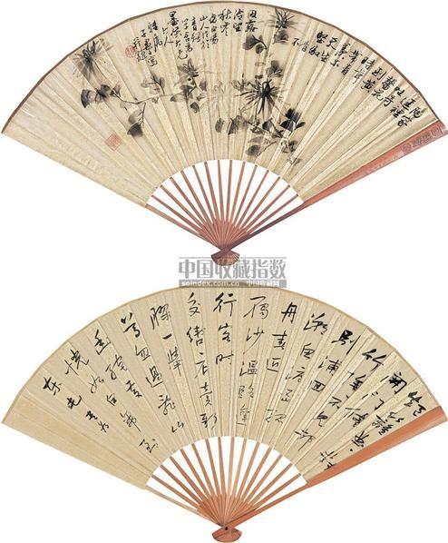 花卉 山水 (两把) 成扇 金笺 -  - 中国书画(上) - 2010瑞秋艺术品拍卖会 -收藏网