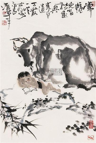 牧童 立轴 纸本 - 129243 - 中国书画(下) - 2010瑞秋艺术品拍卖会 -收藏网
