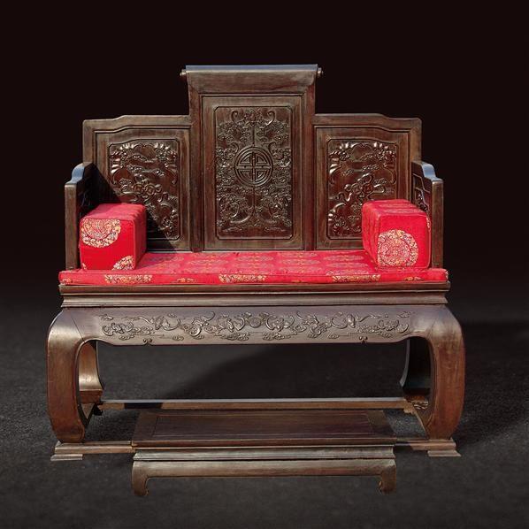 黑檀福寿纹宝座(带脚踏) - - 古典家具专场 - 北京嘉缘四季艺术品拍卖