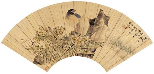 潘  耕(?~1917)  水仙翠鸟 -  - 中国书画金笺扇面 - 2005年首届大型拍卖会 -收藏网