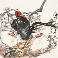 三吉图 镜片 设色纸本 - 江文湛 - 中国书画 - 2010秋季艺术品拍卖会 -收藏网