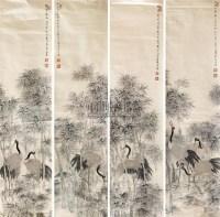 松鹤图 片 纸本 - 124448 - 中国书画 - 2010秋季艺术品拍卖会 -收藏网
