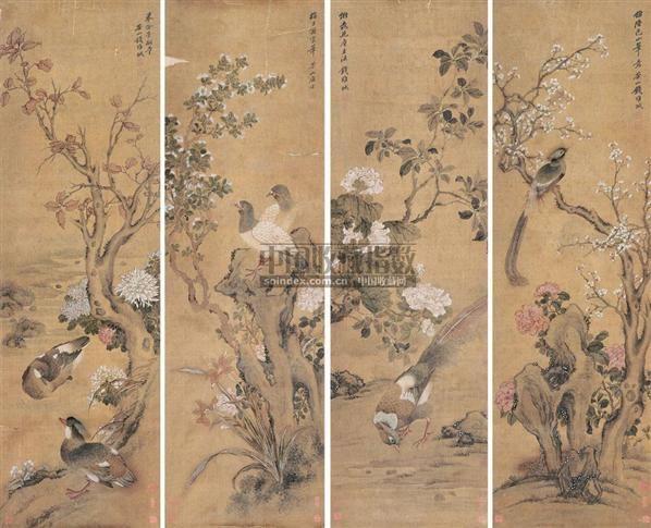 工笔花鸟 镜心 绢本设色 - 118889 - 中国古代书画  - 2010秋季艺术品拍卖会 -收藏网