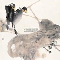 荷花双鸟 立轴 设色纸本 - 江文湛 - 中国书画 - 2010秋季艺术品拍卖会 -收藏网