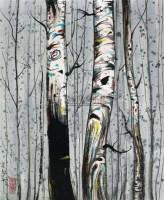白桦林 镜心 设色纸本 - 吴冠中 - 中国书画(一) - 2010年秋季艺术品拍卖会 -收藏网