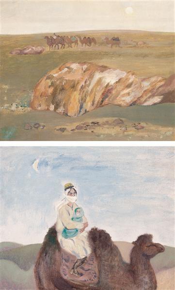 丝路风情—驼队 (一) 丝路风情—母子 (二) 布面 油画 - 133228 - 中国油画 - 第54期书画精品拍卖会 -收藏网