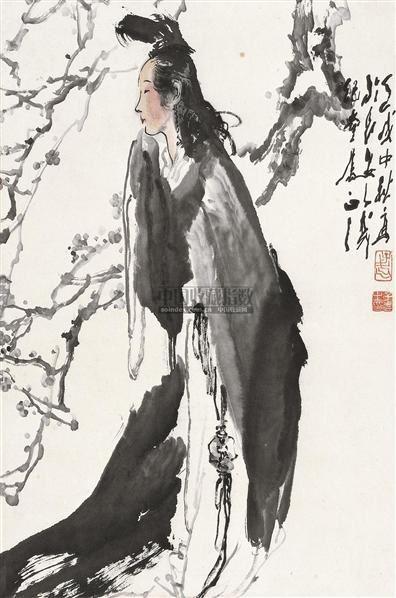 梅妃 镜片 设色纸本 - 118173 - 中国书画 - 2010秋季艺术品拍卖会 -收藏网