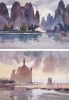 桂林风光 (二件) 水彩双挖 画框 - 7902 - 名家书画·油画专场 - 2006夏季书画艺术品拍卖会 -收藏网