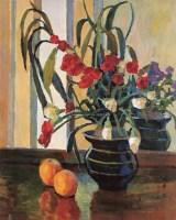 窗前的瓶花水果 布面  油画 - 闵希文 - 华人西画 - 2006年度大型经典艺术品拍卖会 -收藏网