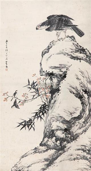 """鹰 立轴 设色纸本 - 134104 - 中国书画 - 2010秋季""""天津文物""""专场 -收藏网"""