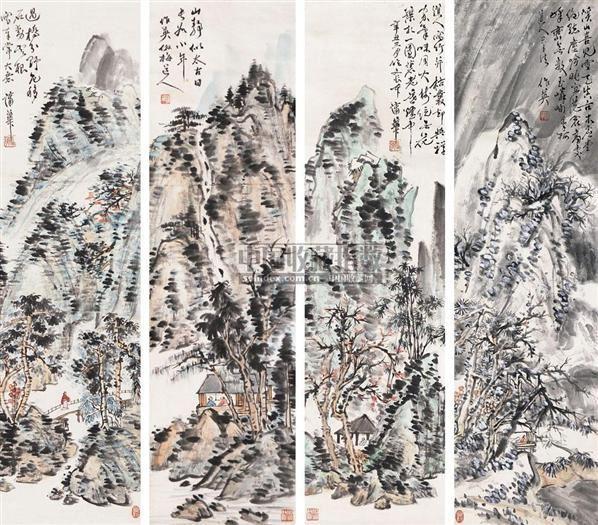 山水 四条屏 纸本 - 8107 - 文物公司旧藏暨海外回流 - 2010秋季艺术品拍卖会 -收藏网