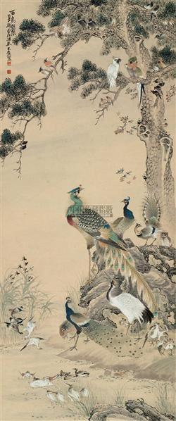 百鸟朝凰 立轴 设色纸本 - 134027 - 中国书画一 - 2010秋季艺术品拍卖会 -收藏网