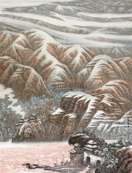 龙门春晓 镜框 设色纸本 - 4706 - 中国书画(二) - 2010年秋季艺术品拍卖会 -收藏网