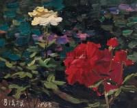 花卉 布面  油画 - 冯法祀 - 华人西画 - 2006年度大型经典艺术品拍卖会 -收藏网