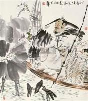 """渔隐 镜片 设色纸本 - 冯远 - 中国书画 - 2010""""清花岁月""""冬季大型艺术品拍卖会 -收藏网"""