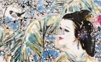 仕女梅花图 镜片 设色纸本 - 3950 - 国画 陶瓷 玉器 - 2010秋季艺术品拍卖会 -中国收藏网